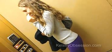 Farting – Elevator, Purple Yoga Pants