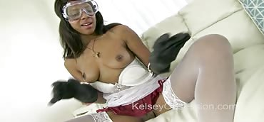 Jerk Off Instruction with Nerdy Lab Chick Verta in Gloves and Goggles