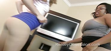 Ass Domination POV - Kelsey Obsession and Aryana Adin in Sweaty Pantyhose