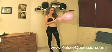 Balloons - Blowing Up and Popping With Heels in Pantyhose
